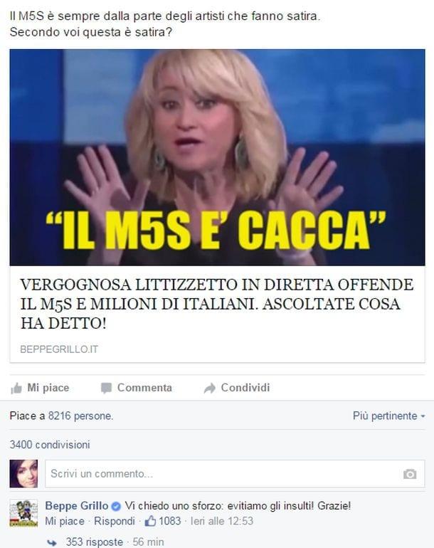 M5S: blog Grillo, Littizzetto ci insulta, perché pagare canone?