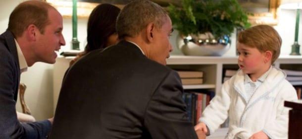 Baby George riceve Michelle e Barak Obama. Tutte le foto