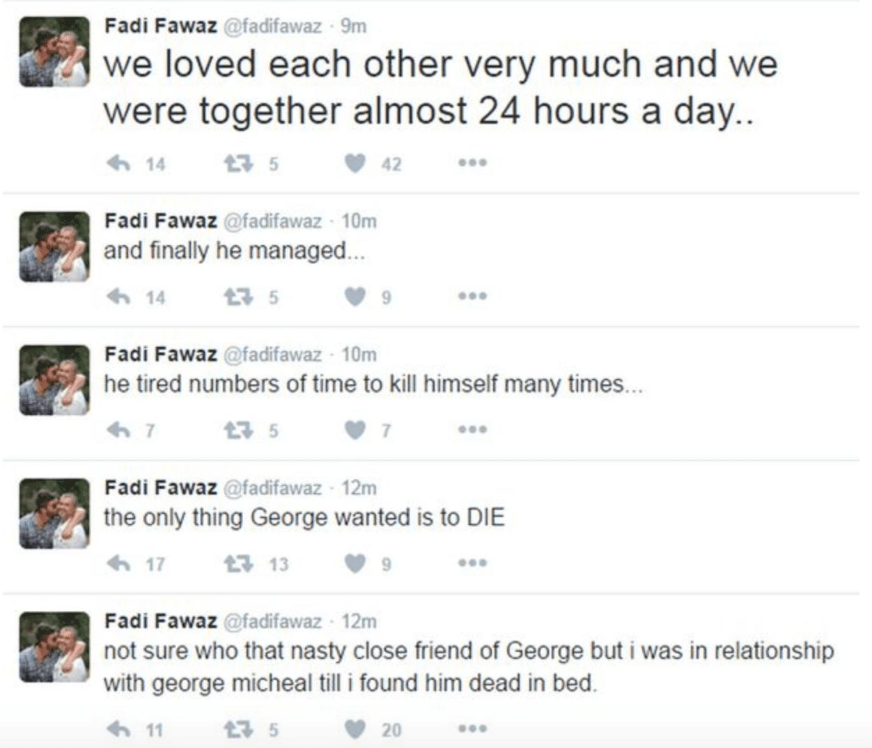 George Michael si è suicidato? Rimosso il profilo del compagno Fadi Fawaz