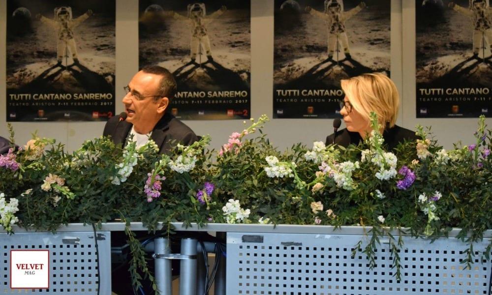 Sanremo 2017, le immagini di Carlo Conti e Maria De Filippi in sala stampa [FOTO]