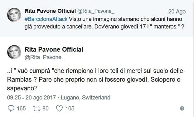 Barcellona, Rita Pavone ritwitta bufala. Bufera sui social