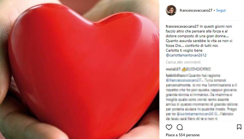 Messaggio social della moglie di Conti per Carlotta Mantovan