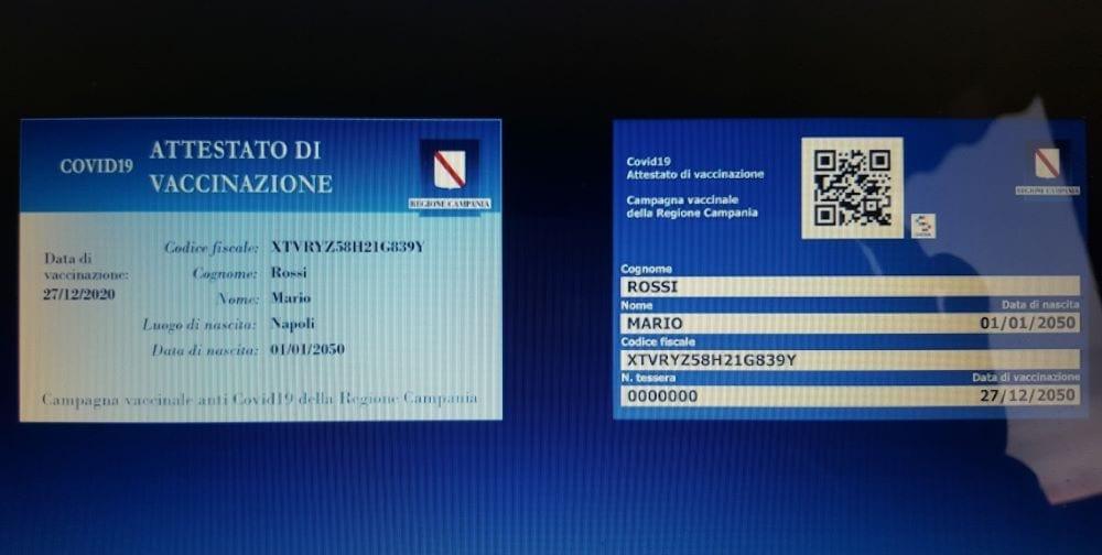 Card vaccino Covid Campania
