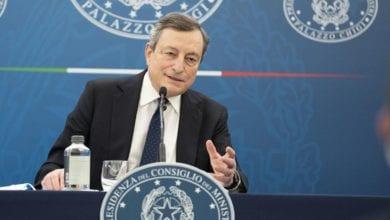 Mario Draghi conferenza stampa riaperture fine aprile